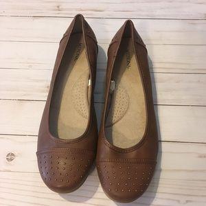 Merona Size 11 Brown Flats w/ Gold Stud Detailing
